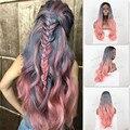 Высокое качество 180% плотность ломбер черный / серый / розовый три тона синтетический парики жаропрочных серый ломбер парик естественная волна