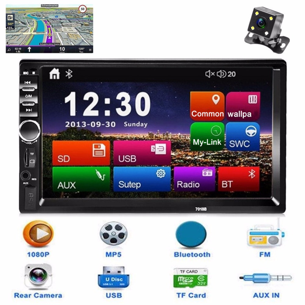 New 2 Din Car Central Multimedia Player GPS Navigator Car Radio Bluetooth MP5 Player Automotivo DVD AUX USB SD Car Audio Stereo joyous j 8619mx 6 2 toyota double din car radio dvd player w gps bluetooth aux