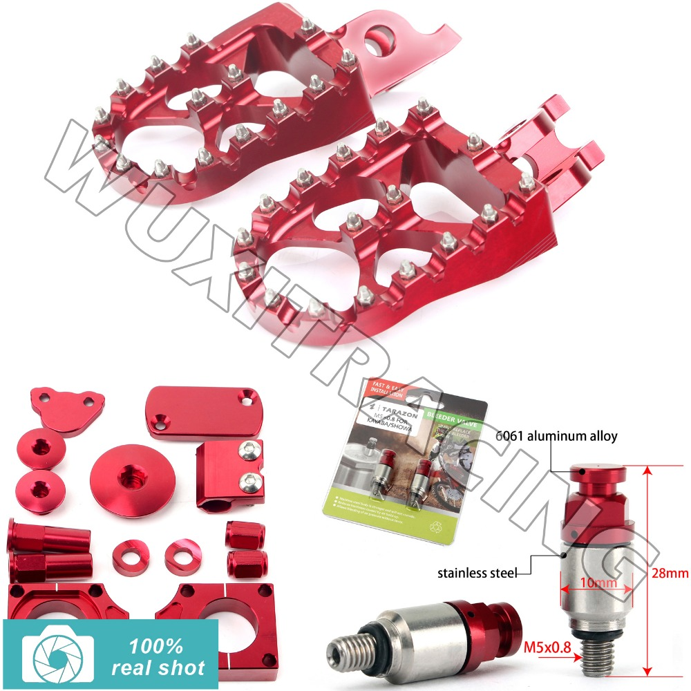 fit for Honda CRF 450 09 10 11 12 13 14 15 RED New CNC MX Footpegs Bling Kits M5X0.8 Fork Air Relief Bleeder Valves