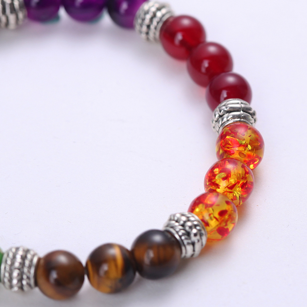 Mens Womens 7 Chakra Mixed Stone Healing Chakra Pray Mala Bracelet Lava Rock DIY Beads Jewelry Balancing Bracelets