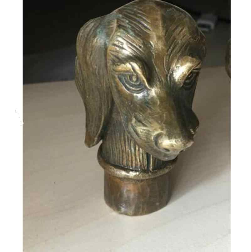 Zhao Old Bronze มือแกะสลักรูปปั้น Skull Cane Stick หัวสามรูปร่างเลือก