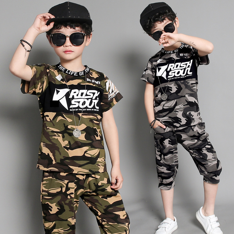 Boys Clothing T-Shirt Tracksuit Pants Short-Sleeve Printed Teenage Camo Children Summer