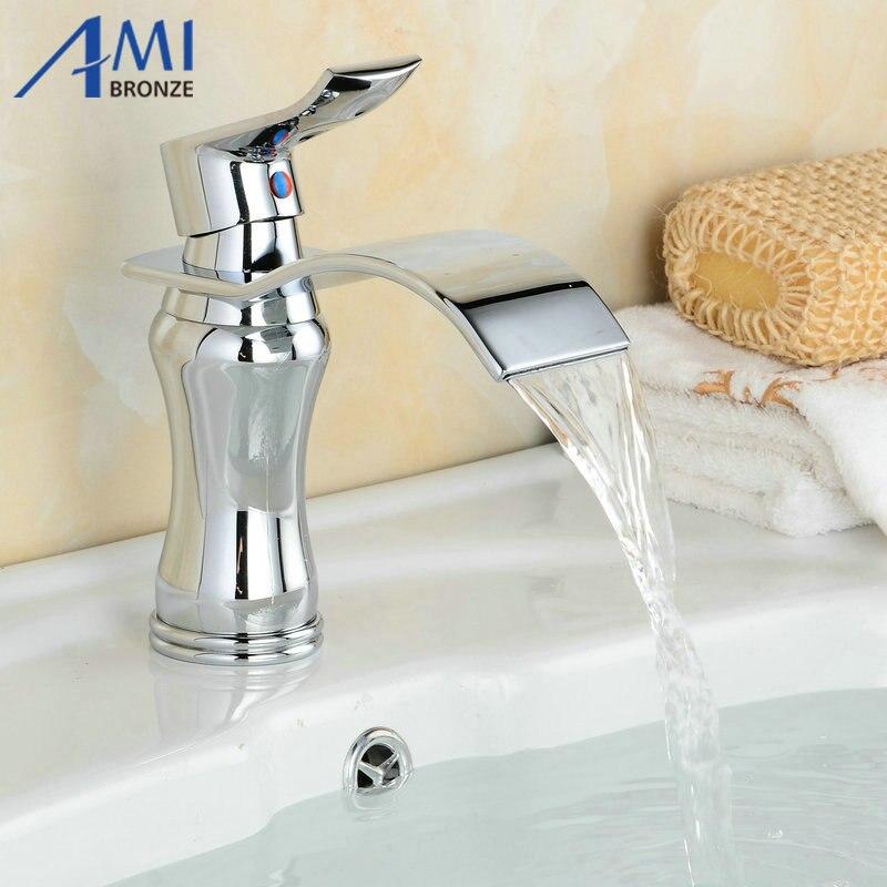 Newly Art Contemporary Bathroom Faucet Basin Faucet Brass Mixer Tap Waterfall Faucet  6087C