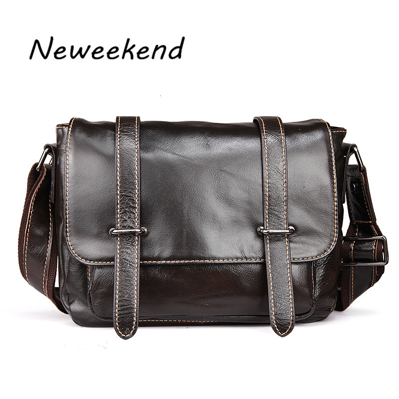 Men s Bag Genuine Max Oil Leather Business Thin Slight Simple Shoulder iPad Male Bags Messenger
