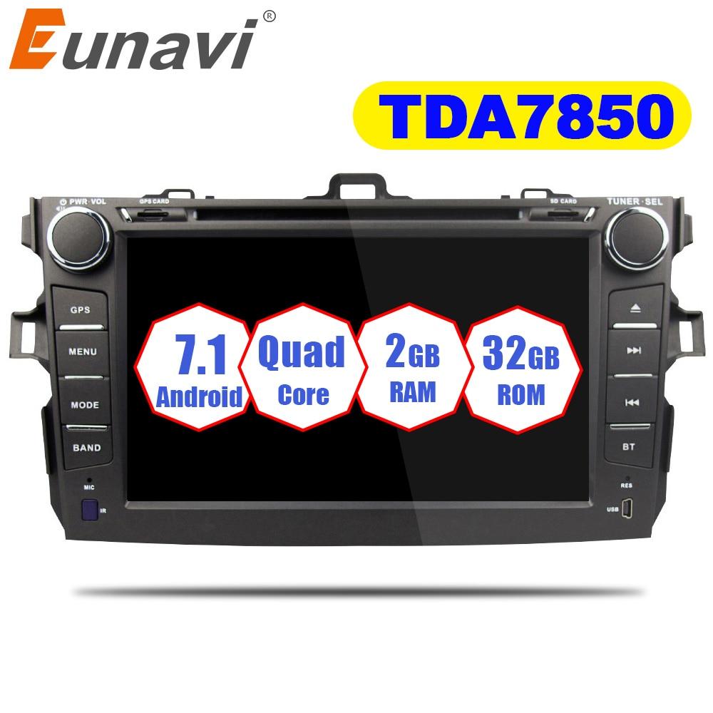 Eunavi 2 Din Android 7.1 lecteur dvd de voiture Pour Toyota corolla 2007 2008 2009 2010 2011 au tableau de bord de voiture radio gps vidéo wifi bluetooth