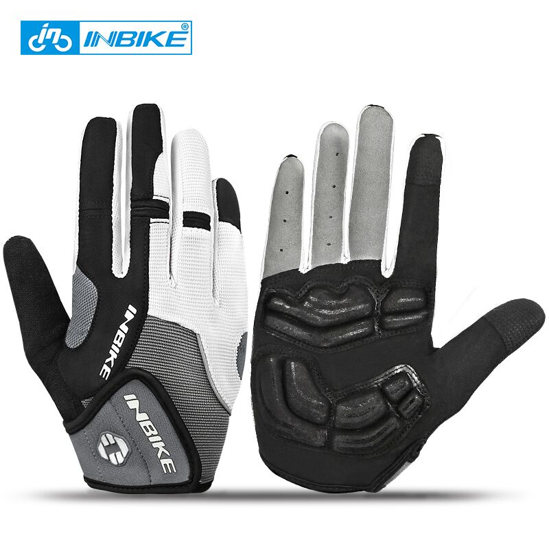 INBIKE <font><b>Full</b></font> Finger Touch Screen <font><b>Cycling</b></font> Gloves MTB Bike Bicycle Gloves GEL Padded Outdoor Sport Fitness Gloves Bike Accessories