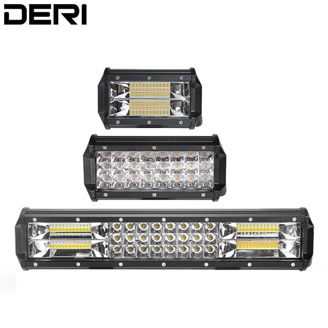 Strobe Amber Lights 5 Inch 7 inch 72W 15 inch 216W Led Light Bar 3-Row Dual Color Led Bar for Jeep 4x4 Offroad SUV ATV UTV UAZ
