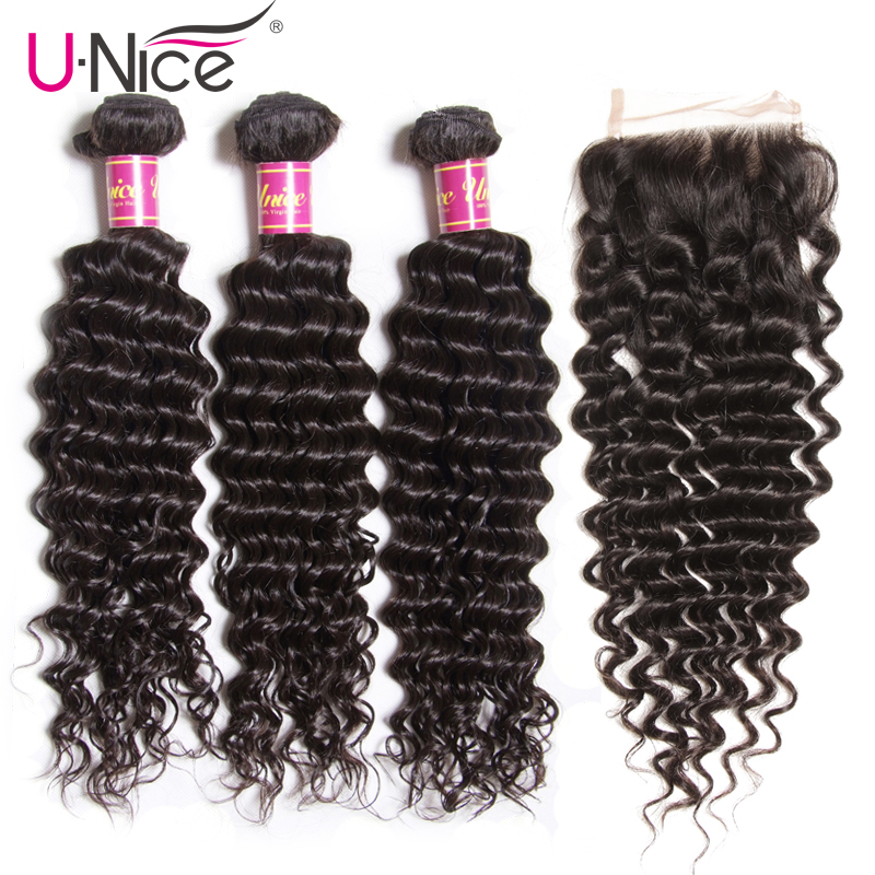 UNice Hair Icenu Remy Hair Series Brazilian Deep Wave Bundles With Closure 4 PCS Free part