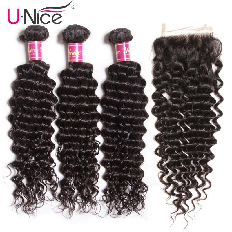 UNice Hair Icenu Remy Hair Series Brazilian Deep Wave Bundles With Closure 4 PCS Free part