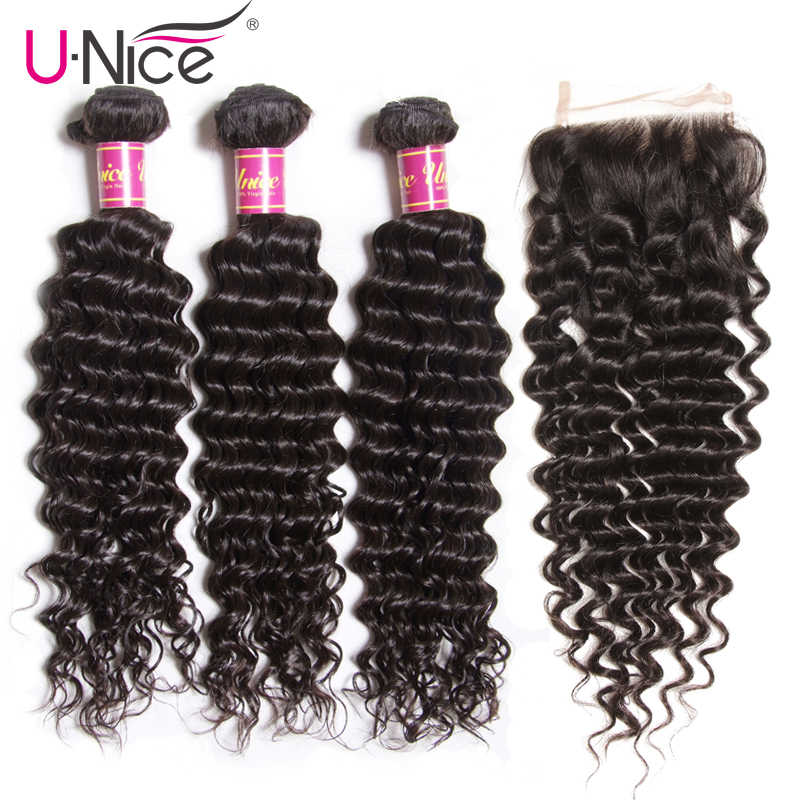 UNice Hair Icenu Remy Hair Series Brazilian Deep Wave Bundles With Closure 4 PCS Free part Human Hair Extension Natural Color