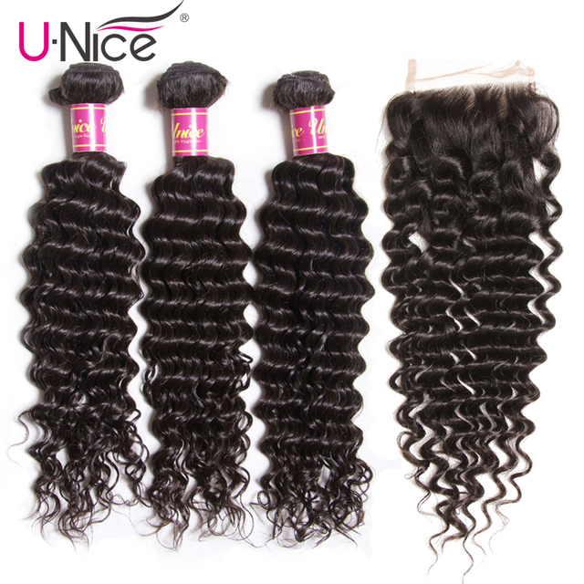 $ US $98.93 UNice Hair Icenu Remy Hair Series Brazilian Deep Wave Bundles With Closure 4 PCS Free part Human Hair Extension Natural Color