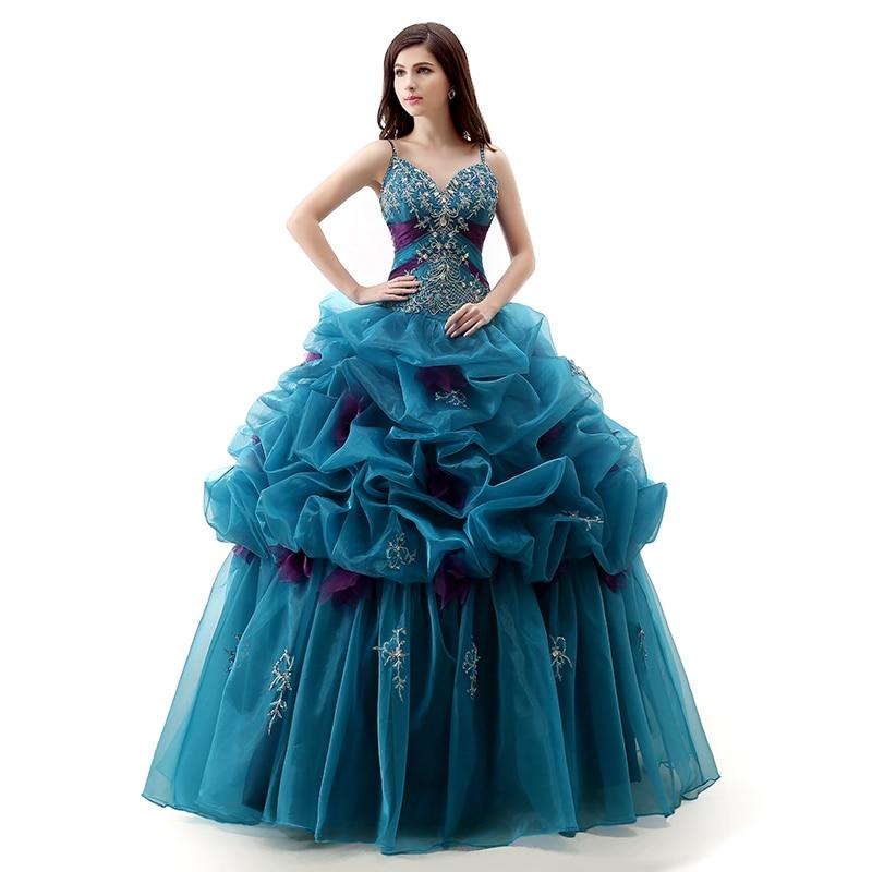 100% Real Photo Rüschen Quinceanera Kleid Neue V-ausschnitt Perlen Organza Spaghetti Lange Mit Lace Up Formale Partei-kleid Plus Größe