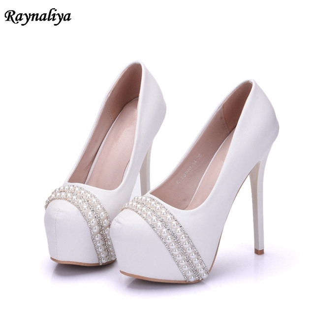 9b9f0782e9 White Lace Flower Bridesmaid Shoes 14cm High Heel Pearl Platform Bride  Dress Shoes White Girl Birthday Party Pumps XY-B0061