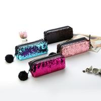 1pc Brilliant Reversible Sequin Hairball Pompom Pencil Case School Supplies Stationery Gift Pencil Box School Tools Pencil Case Office & School Supplies