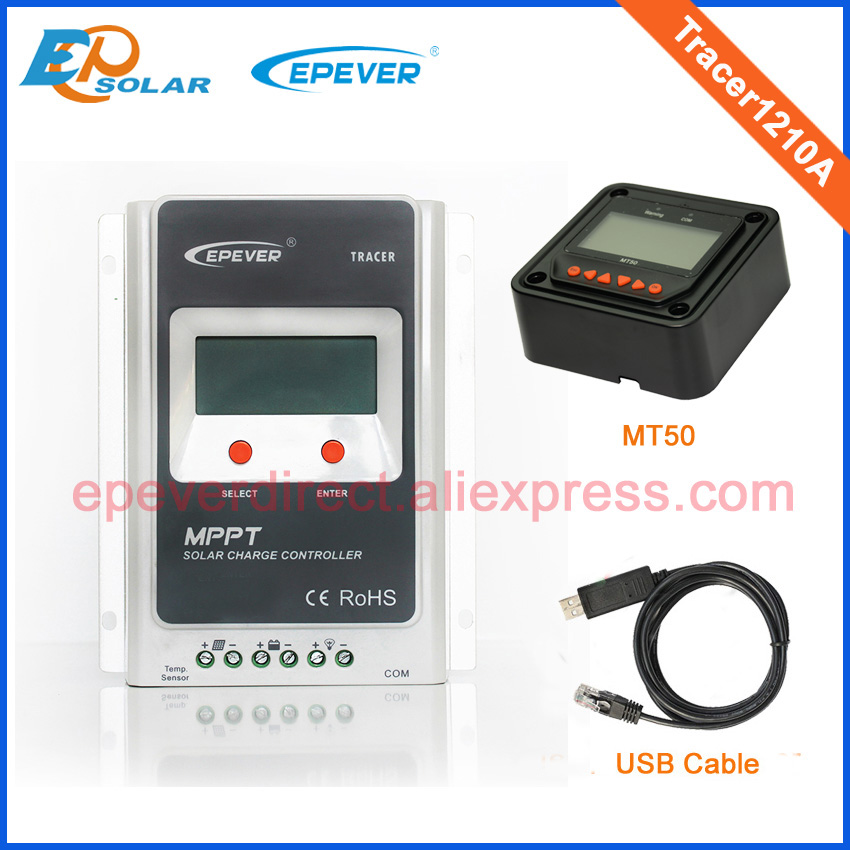mppt solar controller 12v 24v with USB cable and MT50 remote meter Tracer1210A 10A 10amp lcd display home use home mppt solar portable controller epsolar 10a 10amp tracer1215bn with mt50 meter and usb pc cable connect software