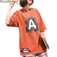 Readit Holes T Shirt 2018 Summer Sweet Letter Printed Casual O Neck Tees Ladies Fashion Cute