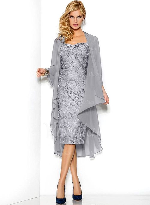 2016 Tea Length Mother Of The Bride Dresses With Jacket Plus Size