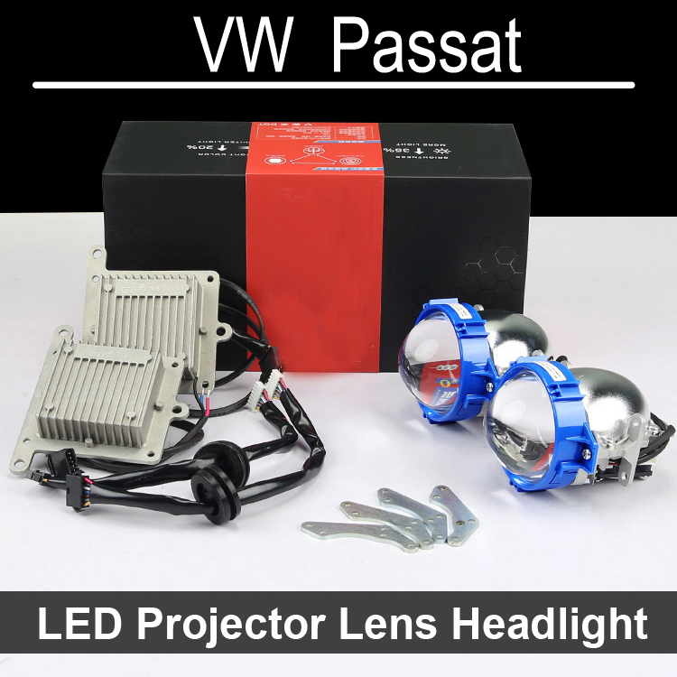 Nice Bi-xenon car LED Projector lens Assembly For VW Volkswagen Passat with halogen headlight ONLY Retrofit Upgrade (1999-2015) hireno headlamp for mercedes benz w163 ml320 ml280 ml350 ml430 headlight assembly led drl angel lens double beam hid xenon 2pcs
