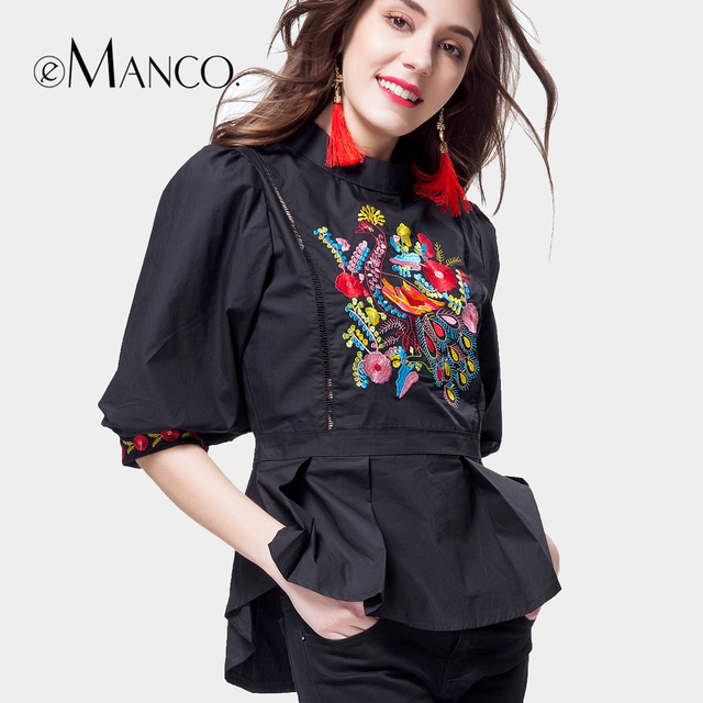 e-Manco Lantern sleeve Floral Black Vintage Embroidery blouse Women's fashion blouses Chinese style shirts Phoenix pattern
