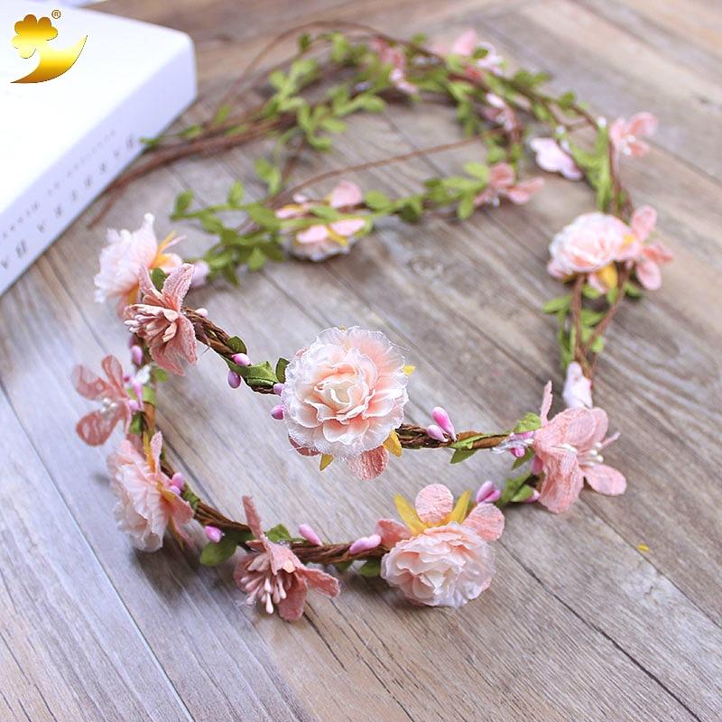 XinYun Lace Flower Wreath Girls Hair Accessories Adjustable Headbands For Women Wedding Flower Crown Rattan Hair Ornaments