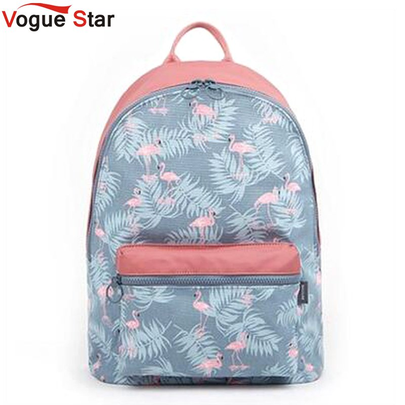 Korean 3D Flamingo Cartoon Printing Backpack Stitching Floral Casual Daily Travel Bag Teenagers School Bag Mochila LB317 japan pokemon harajuku cartoon backpack pocket monsters pikachu 3d yellow cosplay schoolbags mochila school book bag with ears