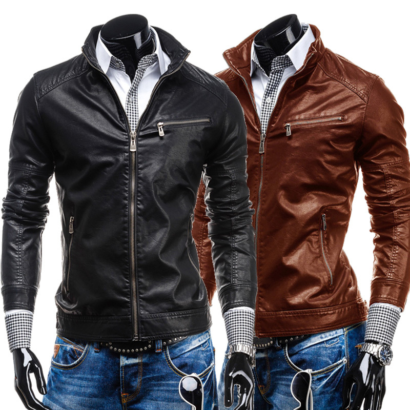 Leather Jackets Solid Collar Leather Jacket Rushed Conventional