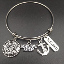 Marine Mom Charm Love Bracelets Stainless Steel Adjustable Wire Bangle Womens Fashion Birthday Jewelry DIY Gifts