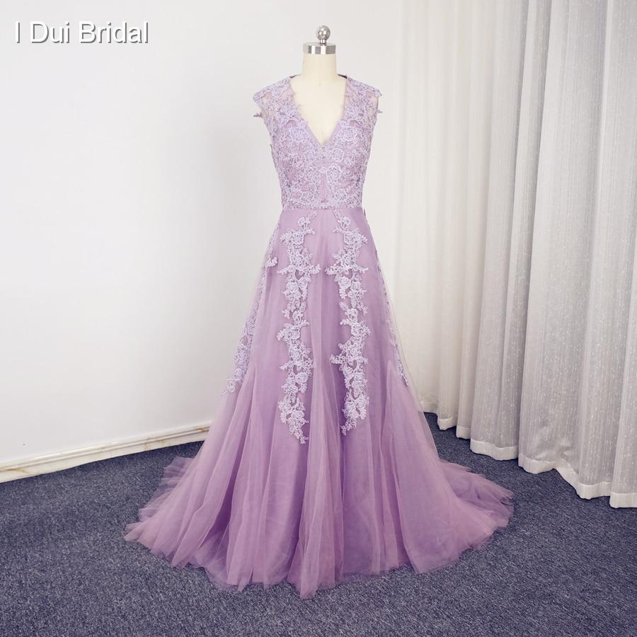 Vintage A Line Wedding Dresses: V Neckline Vintage Lace Soft Tulle A Line Wedding Dresses