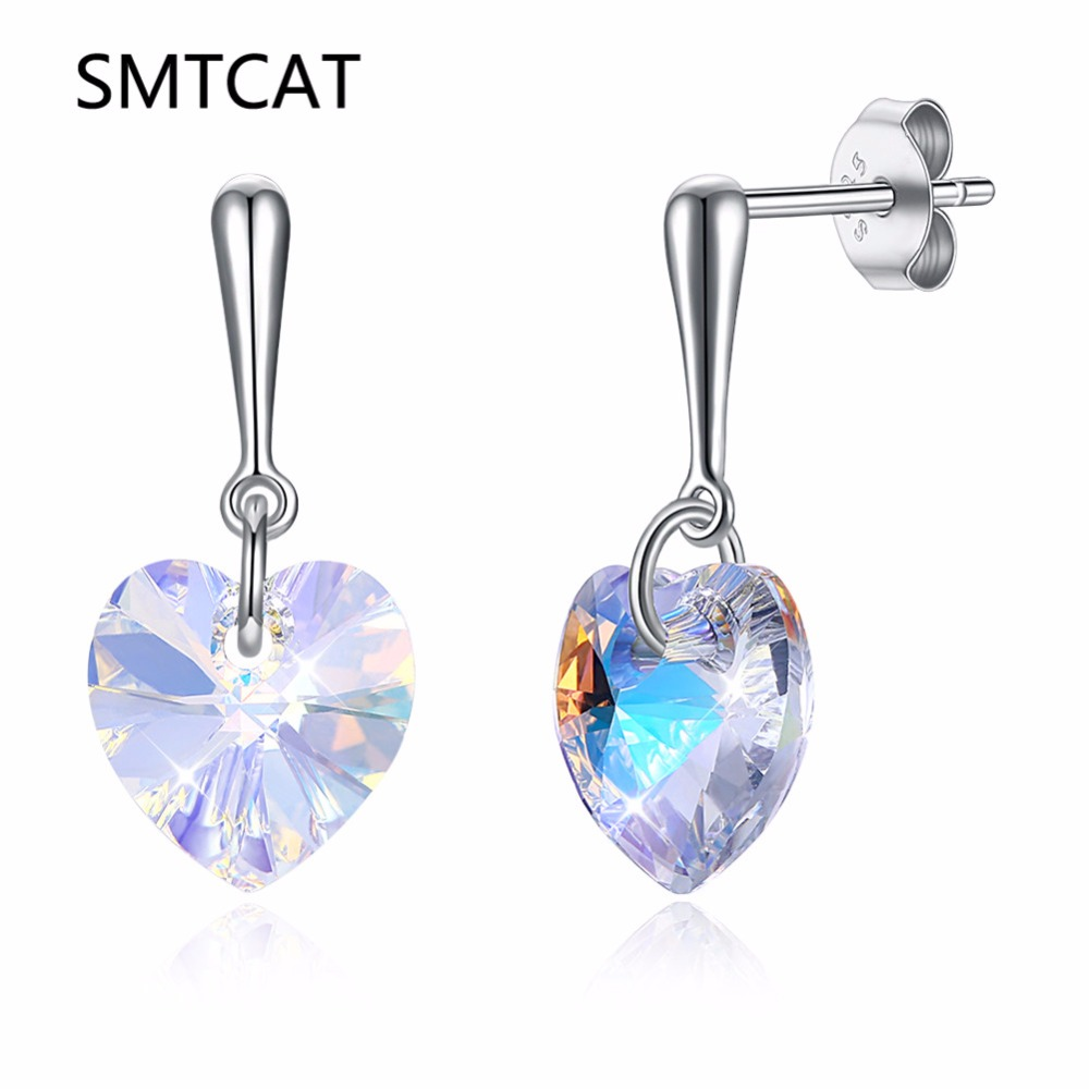 LEKANI Crystal From Swarovski Earrings Women Dangles Earring Drop Heart Shaped S925 Sterling Silver Jewelry Fashion Tassel ...