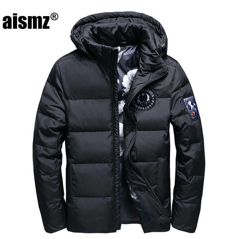 Aismz Winter Big Hooded Duck Down Jackets Men Warm High Quality Down Coats Male Casual Winter Outerwer Down Parkas