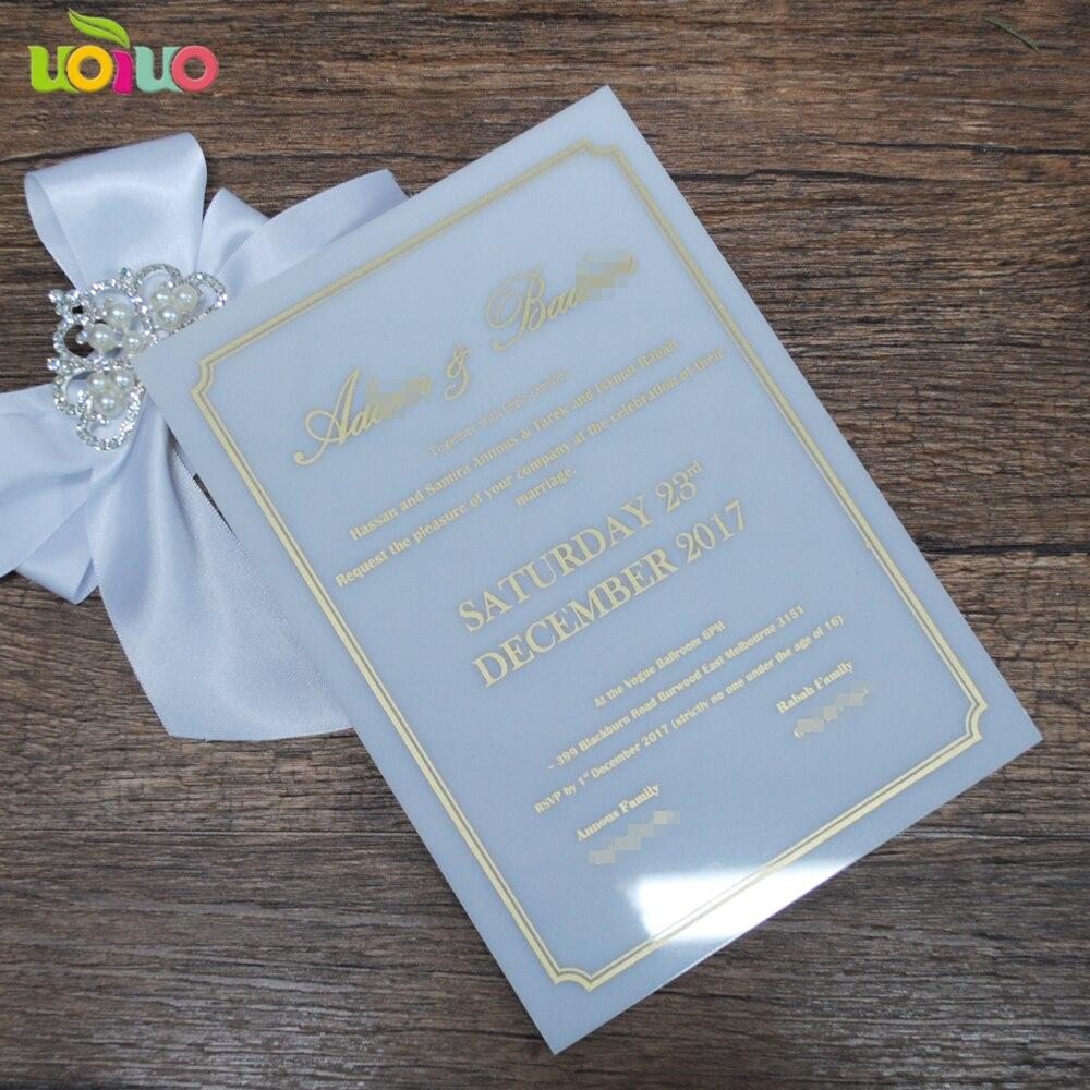 de casamento decorações Acrílico branco com impressão de ouro