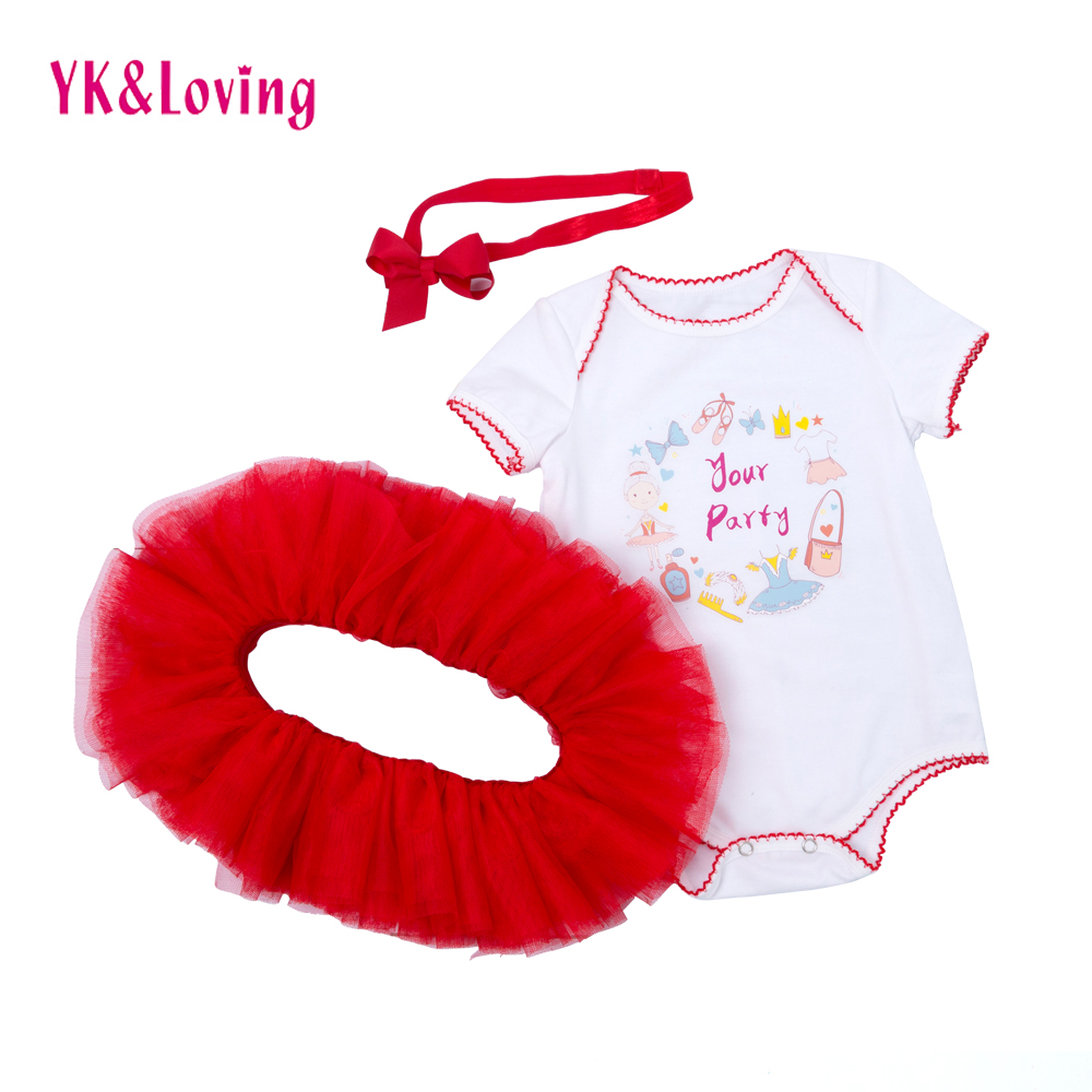 Newborn Baby Girl Clothes Short Sleeve princess Letter Romper Tops+ Red Tutu Skirt+Headband 3PCS Outfit Kids Clothing Set 4pcs set newborn baby clothes infant bebes short sleeve mini mama bodysuit romper headband gold heart striped leg warmer outfit