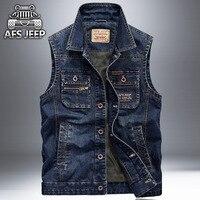 Asf Jeep Sleeveless Jean Jacket Men Cowboy Vest Multi Pocket Waistcoat Denim Motorcycle Cargo Vest Brand