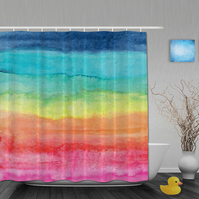 Watercolor Bathroom Shower Curtain Rainbow Striped Waterproo Polyester Fabric Custom Hooks
