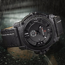 NAVIFORCE Mens Watches Top Brand Luxury Sport Quartz-Watch Leather Strap Clock Men Waterproof Wristwatch