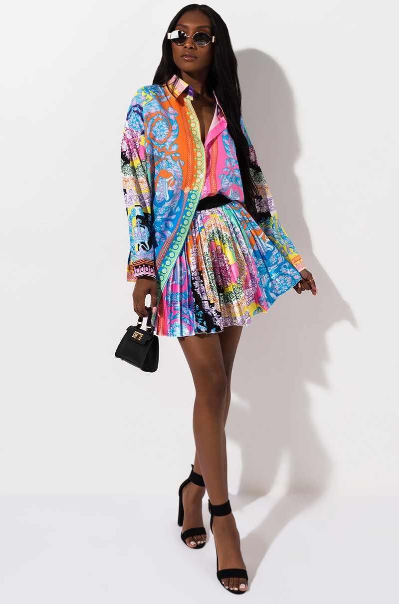 2 Pieces Set Sexy Autumn Fashion Women Set 2019 Female Tops Floral Print Long Sleeve Shirt Elastic Waist Mini Skirts