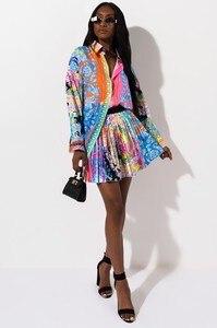 Image 3 - 2 peças conjunto sexy outono moda feminina conjunto 2021 feminino topos floral impressão manga longa camisa cintura elástica mini saias