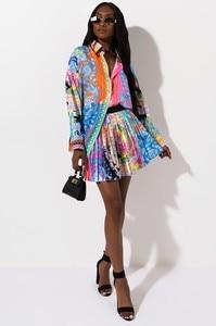 Image 3 - 2 stück Set Sexy Herbst Mode Frauen Set 2021 Weibliche Tops Floral Print Langarm shirt Elastische Taille Mini Röcke