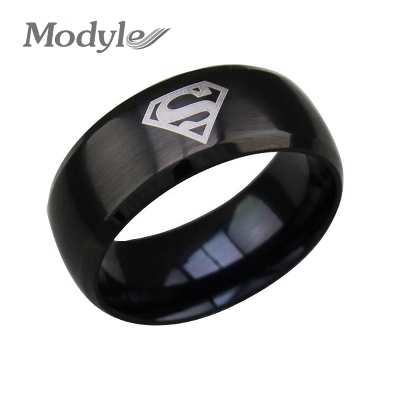 2016 new fashion superman ring stainless steel wedding rings jewelry for women and menchina - Superman Wedding Rings