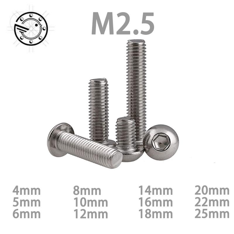 100pcs M2.5 Bolt A2-70 M2.5*(4/5/6/8/10/12/14/16/18/20/22/25) mm  Button Head Socket Screw Bolt SUS304 Stainless Steel 20pcs m3 6 m3 x 6mm aluminum anodized hex socket button head screw