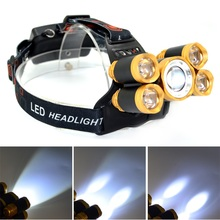 T6+XPE LED Head Lamp 16000lm Zoomable Headlamp 5leds Headlight Tube Torch LED Flashlight+Car Charger+18650 Batteries