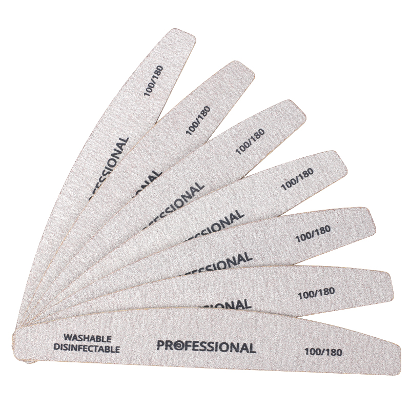 7pcs Professional Wooden Nail Files 100/180 Wood Sandpaper Nails Buffer UV Gel Polish Manicure Grey Boat Strong Thick Stick File