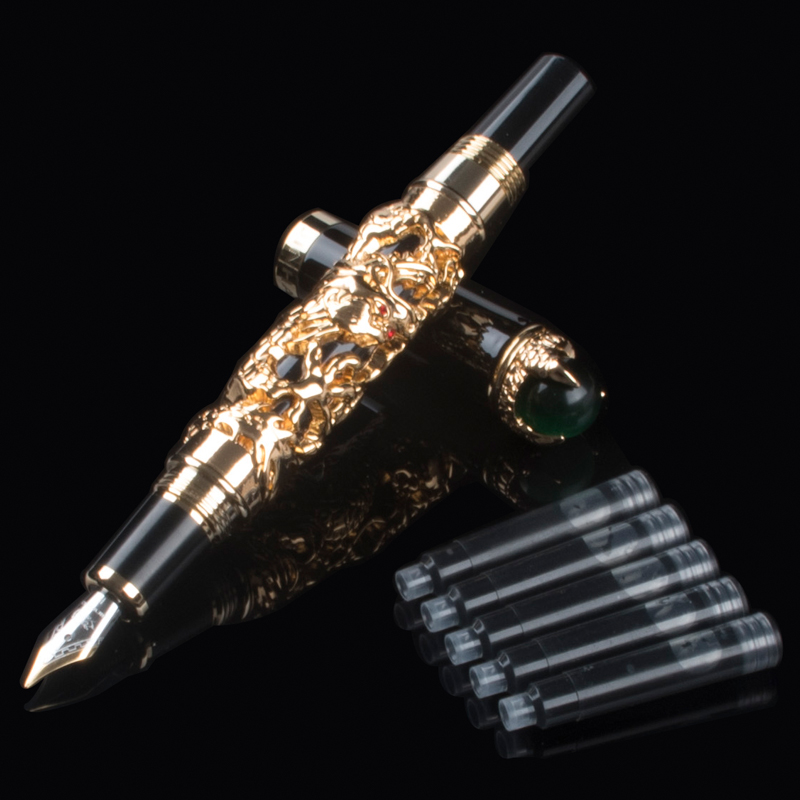 Excellent Luxury Medium M Nib Gold Dragon Pen Clip With School Gift ink Office Business Men No Writing Problems