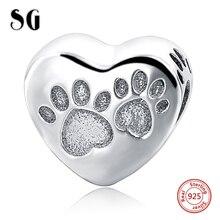 цена MANBU Fit Authentic Pandora Charms Bracelet Silver 925 Original Dog Paw Heart Sterling Silver Pendant Beads For Women Jewelry