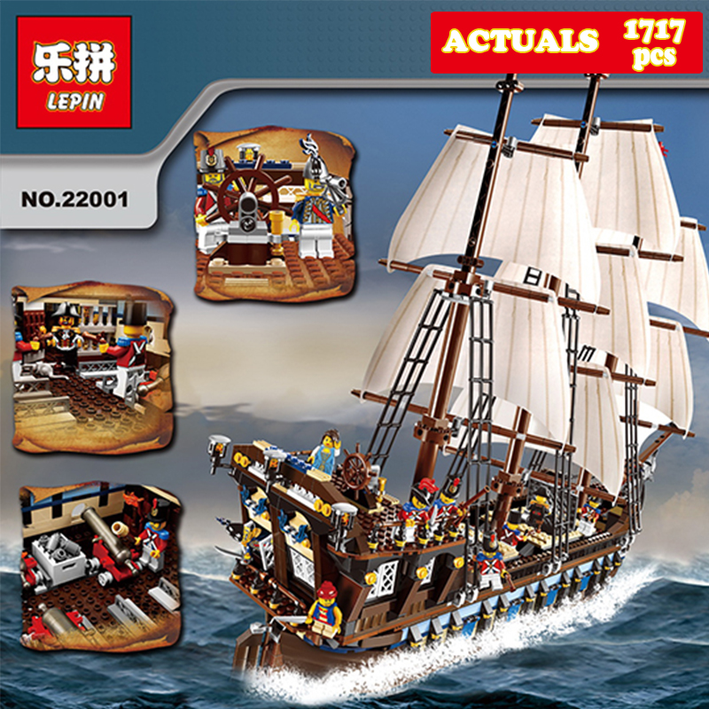 NEW LEPIN 22001 Pirate Ship Imperial warships Model Building Kits Block Briks 1717pcs Compatible 10210 Children Gift lepin 22001 pirates series the imperial flagship model building blocks set pirate ship lepins toys for children clone 10210