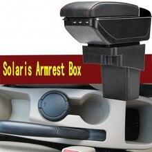 Для hyundai Solaris подлокотник коробка центральный магазин содержание коробка с подстаканником пепельница USB Solaris Подлокотники коробка