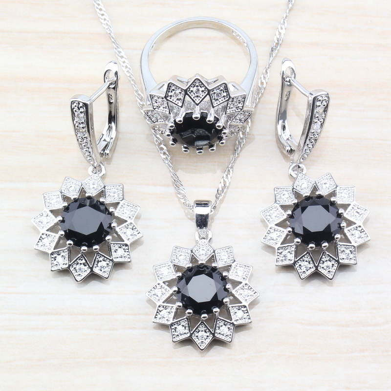 Wedding & Engagement Jewelry Good-looking Round Black Zircon 925 Silver So Cool Women Jewelry Sets Earrings/necklace&pendant/ring Size 6/7/8/9/10 S72 High Quality And Low Overhead
