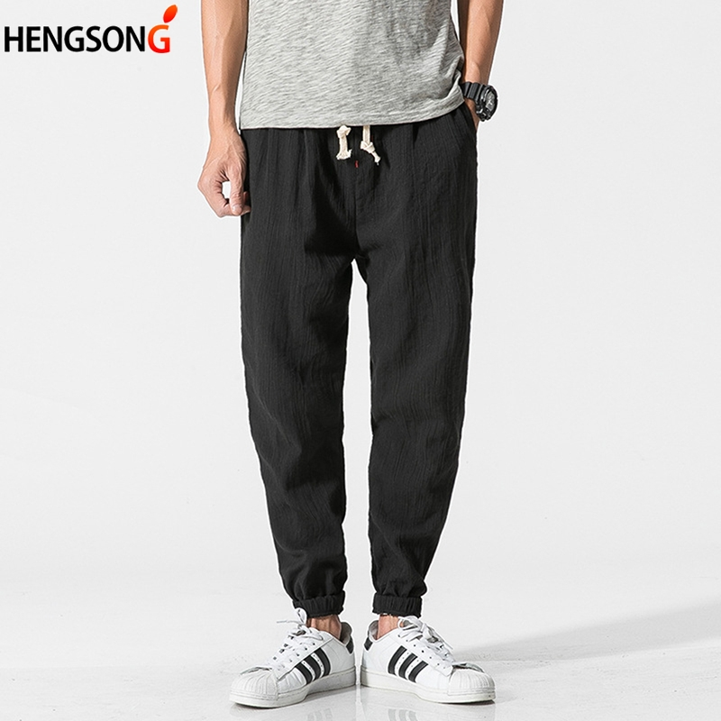 HENGSONG Casual Man Harem Pants Chinese Traditional Harajuku Summer Clothes Linen Loose Casual Pants718562
