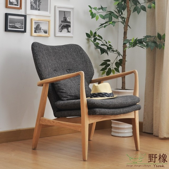 CH319 Wild Oak Wood Sofa Chair Single White Oak Fabric Lounge Chair  Designer Chairs Double Set