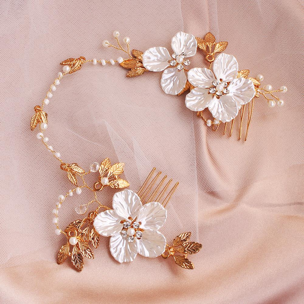 2019 New Wedding Hair Band Bridal Wedding Accessories Gold Leaf Vine with Comb Handmade Flowers Pearls Ornament Wedding Jewelry